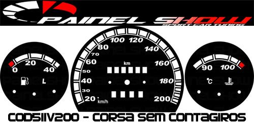 Kit Translúcido p/ Painel - Cod511v200 - Corsa sem Contagiros  - PAINEL SHOW TUNING - Personalização de Painéis de Carros e Motos
