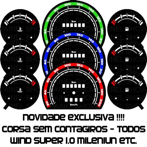 Kit Translúcido p/ Painel - Cod607v200 - Corsa sem Contagiros  - PAINEL SHOW TUNING - Personalização de Painéis de Carros e Motos