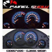 Corsa Classic Sedan 220km/h até 2008 Cod652v220 Mostrador Tuning Acetato Translucido p/ Personalização de Painel - Show !