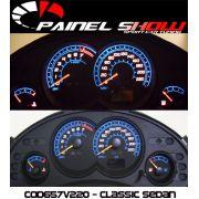 Corsa Classic Sedan 220km/h 2008 ed Cod657v220 Mostrador Tuning Acetato Translucido p/ Personalização de Painel - Show !