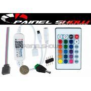 Controlador de Cores para Painel Show Translucido Multicor rgb via Bluetooth Top + Controle 24 Teclas