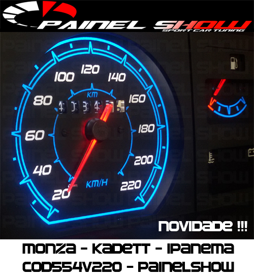 Monza Kadett Ipanema Cod554v220 Mostrador Tuning Translucido p/ Personalização de Painel - Show !   - PAINEL SHOW TUNING - Personalização de Painéis de Carros e Motos