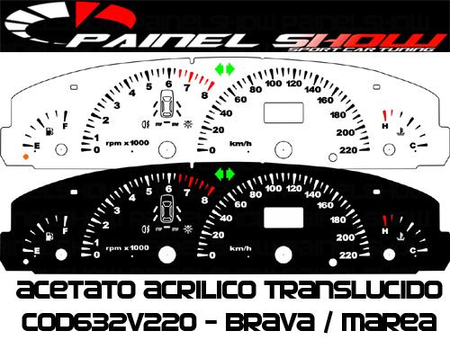 Kit Translucido p/ Painel - Cod632v220 - Brava Marea 220km/h com Check-Control  - PAINEL SHOW TUNING - Personalização de Painéis de Carros e Motos
