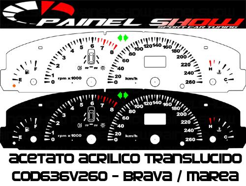Kit Translucido p/ Painel - Cod636v260 - Brava Marea 260km/h com Check-Control  - PAINEL SHOW TUNING - Personalização de Painéis de Carros e Motos