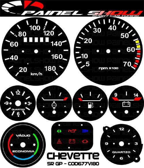 Kit Translucido p/ Painel - Cod677v180 - Chevette SR GP - Painelshow  - PAINEL SHOW TUNING - Personalização de Painéis de Carros e Motos