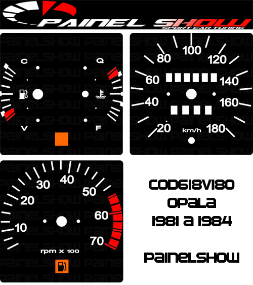Kit Translúcido p/ Painel - Cod618v180 - Opala 1981 a 1984  - PAINEL SHOW TUNING - Personalização de Painéis de Carros e Motos