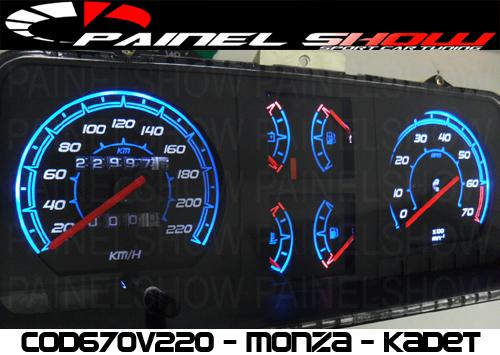 Kit Translucido p/ Painel - Cod670v220 - Monza com Contagiros  - PAINEL SHOW TUNING - Personalização de Painéis de Carros e Motos