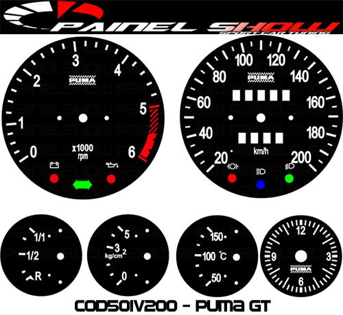 Kit Translúcido p/ Painel - Cod501v200 - Puma GT  - PAINEL SHOW TUNING - Personalização de Painéis de Carros e Motos