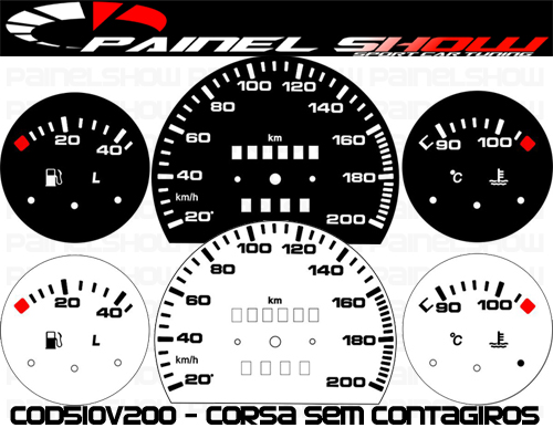 Kit Translúcido p/ Painel - Cod510v200 - Corsa sem Contagiros  - PAINEL SHOW TUNING - Personalização de Painéis de Carros e Motos