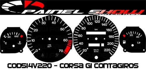 Kit Translúcido p/ Painel - Cod514v220 - Corsa com Contagiros  - PAINEL SHOW TUNING - Personalização de Painéis de Carros e Motos