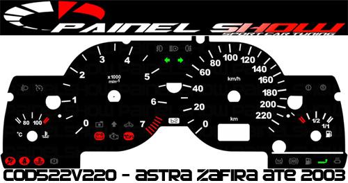 Acetato Translúcido p/ Painel - Cod522v220 - Astra até 2003 com Contagiros  - PAINEL SHOW TUNING - Personalização de Painéis de Carros e Motos