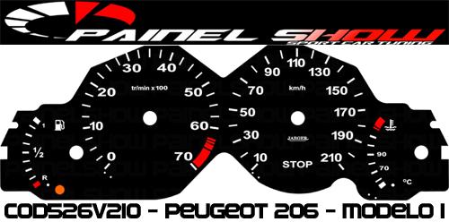 Kit Translúcido p/ Painel - Cod526v210 - Peugeot 206 até 2003  - PAINEL SHOW TUNING - Personalização de Painéis de Carros e Motos