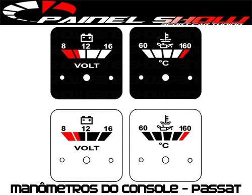 Placas Translúcida p/ Manômetro do Console Passat - Voltímetro e Temperatura de Óleo  - PAINEL SHOW TUNING - Personalização de Painéis de Carros e Motos
