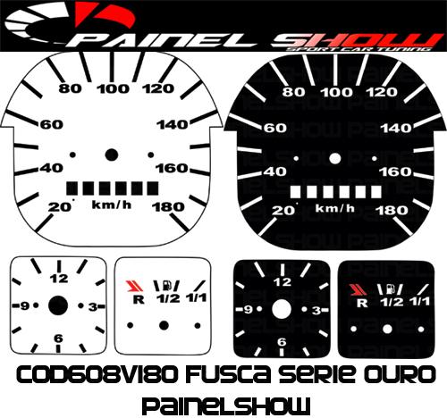 Kit Translúcido p/ Painel - Cod608v180 - Fusca Quadrado 180km  - PAINEL SHOW TUNING - Personalização de Painéis de Carros e Motos