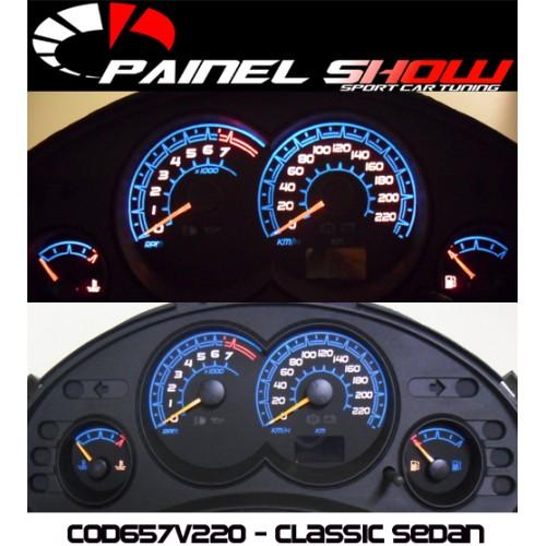 Corsa Classic Sedan 220km/h até 2008 Cod652v220 Mostrador Tuning Acetato Translucido p/ Personalização de Painel - Show !  - PAINEL SHOW TUNING - Personalização de Painéis de Carros e Motos