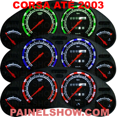 Kit Translúcido p/ Painel - Cod605v200 - Corsa Antigo SS - 200km/h  - PAINEL SHOW TUNING - Personalização de Painéis de Carros e Motos