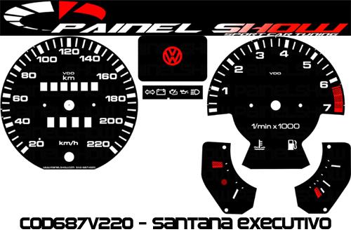 Kit Translúcido p/ Painel - Cod687v220 - Santana Executivo com Contagiros  - PAINEL SHOW TUNING - Personalização de Painéis de Carros e Motos