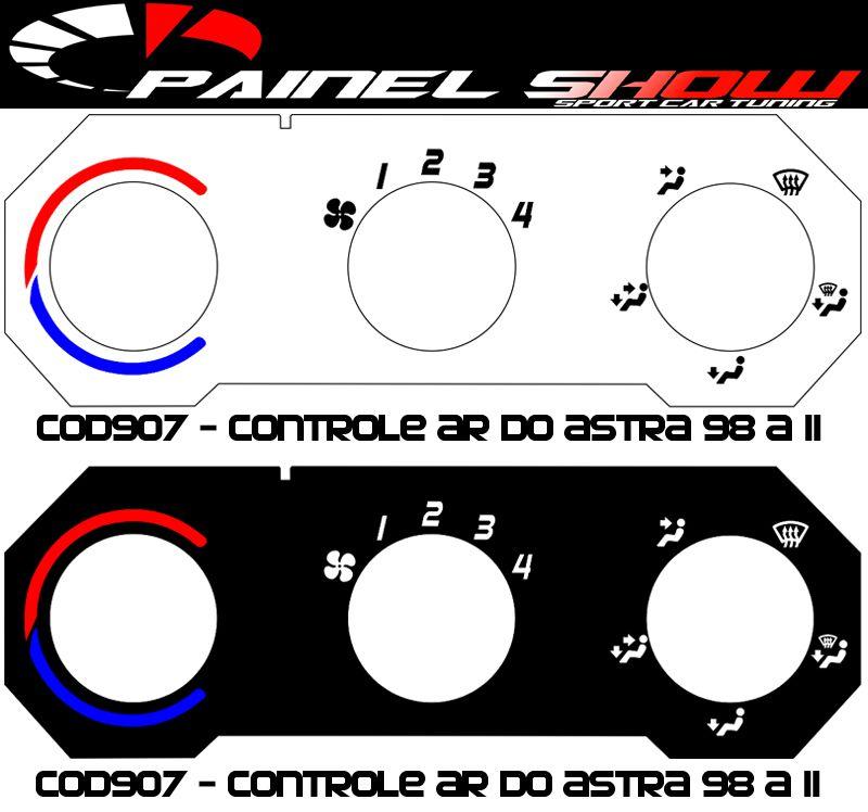 Acetato de Controle de Ar Ventilação Pelicula - Astra 99 em diante - cod907  - PAINEL SHOW TUNING - Personalização de Painéis de Carros e Motos