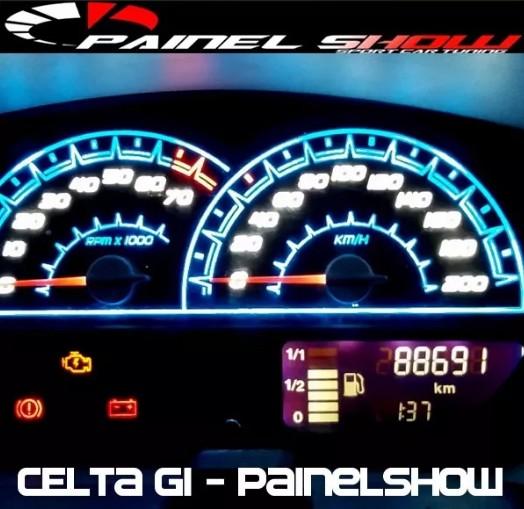 Celta G1 Antigo com Contagiros - Cod699V200 - Acetato Translucido p/ Personalização de Painel - Show !   - PAINEL SHOW TUNING - Personalização de Painéis de Carros e Motos