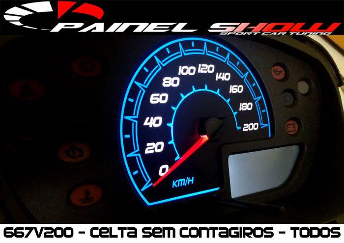 Celta G1 Antigo sem Contagiros - Cod667V200 - Acetato Translucido p/ Personalização de Painel - Show !   - PAINEL SHOW TUNING - Personalização de Painéis de Carros e Motos