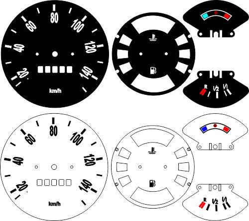 Kit Translúcido p/ Painel - Cod564v140 - Kombi Diesel 140 Temperatura em Cima  - PAINEL SHOW TUNING - Personalização de Painéis de Carros e Motos