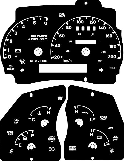 Kit Translúcido p/ Painel - Cod598v200 - Ranger  - PAINEL SHOW TUNING - Personalização de Painéis de Carros e Motos