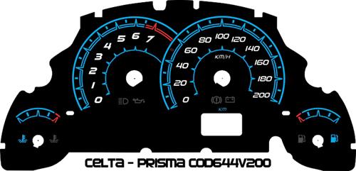 Celta ou Prisma Cod644v200 Mostrador Tuning Acetato Translucido p/ Personalização de Painel - Show !   - PAINEL SHOW TUNING - Personalização de Painéis de Carros e Motos