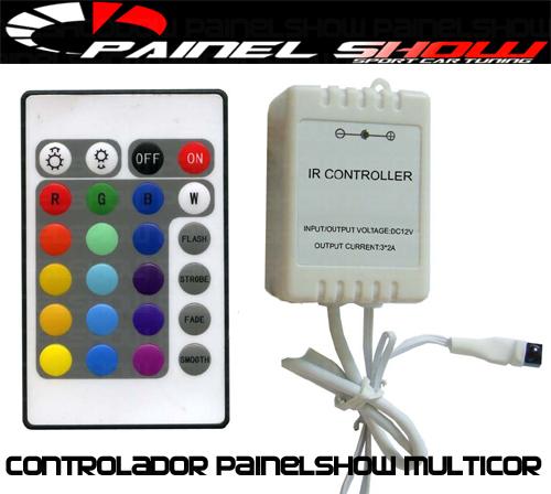 Controlador de Cores para Painel Show Translucido Multicor rgb com Controle Remoto   - PAINEL SHOW TUNING - Personalização de Painéis de Carros e Motos