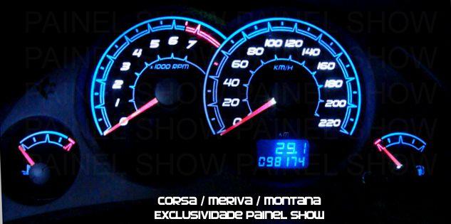 Corsa Hatch Joy Maxx Premium VHC SS 220km/h Cod639v220 Mostrador Tuning Acetato Translucido p/ Personalização de Painel - Show ! Iceblue  - PAINEL SHOW TUNING - Personalização de Painéis de Carros e Motos