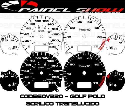 Kit Translúcido p/ Painel - Cod560v220 - Golf com Ponteiro Acrilicoe   - PAINEL SHOW TUNING - Personalização de Painéis de Carros e Motos