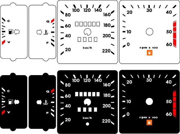 Kit Translúcido p/ Painel - Cod686v220 - Opala 85 86 220 km Contagiros 60  - PAINEL SHOW TUNING - Personalização de Painéis de Carros e Motos