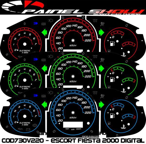 Kit Translucido p/ Painel - Cod730v220 - Escort Fiesta Courrier 2000 Digital  - PAINEL SHOW TUNING - Personalização de Painéis de Carros e Motos