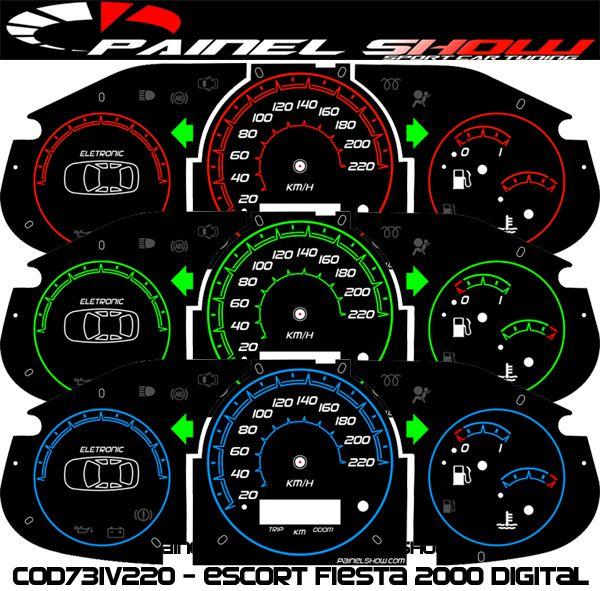 Kit Translucido p/ Painel - Cod731v220 - Escort Fiesta Courrier 2000 Digital  - PAINEL SHOW TUNING - Personalização de Painéis de Carros e Motos