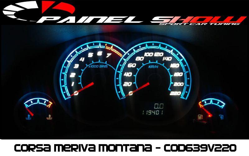 Meriva Joy Maxx Premium VHC SS 220km/h Cod639v220 Mostrador Tuning Acetato Translucido p/ Personalização de Painel - Show ! Iceblue  - PAINEL SHOW TUNING - Personalização de Painéis de Carros e Motos