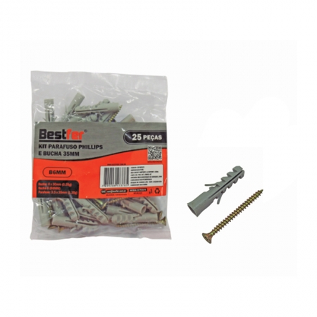 KIT PARAFUSO PHILIPS 3,5X35MM COM BUCHA 6X30MM 25 UN