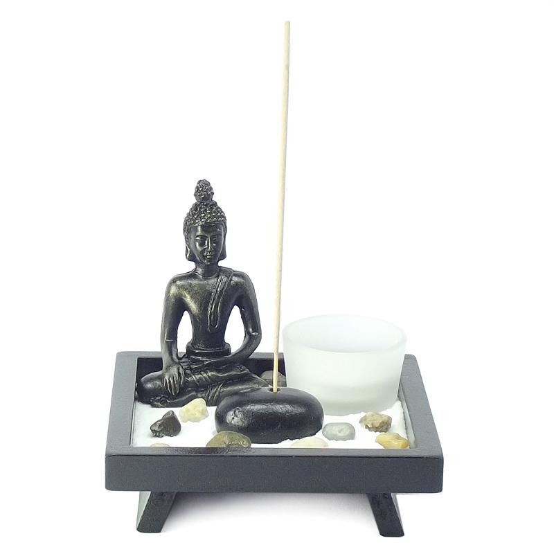 Jardim Zen, Incensário, Porta Vela Buda 12,5 x 12,5 cm