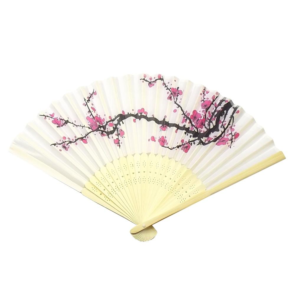 Leque Nylon Branco Sakura 21 cm