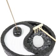 Jardim Zen, Incensário, Porta Vela Ying Yang Preto 15 cm