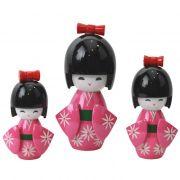 Kokeshi Trio Laço Rosa