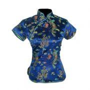 Blusa Chinesa Tradicional Azul Marinho Dragão Fênix