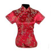 Blusa Chinesa Tradicional Vermelha Dragão Fênix