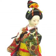 Boneca Gueixa Flauta Kimono Vemelho / Preto