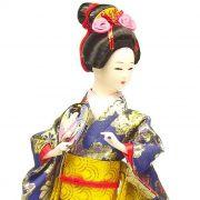 Boneca Gueixa Leque Kimono Azul