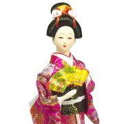 Boneca Gueixa Leque Kimono Rosa Pink
