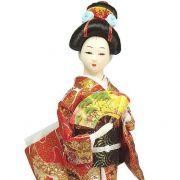 Boneca Gueixa Leque Kimono Vermelho