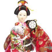 Boneca Gueixa Tambor Kimono Vermelho / Floral