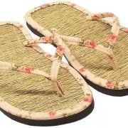 Chinelo de Palha Japonês em Tricoline Floral Rosa / Sandália Zori / Lavável, Leve e Fresca / Combinam com qualquer ocasião