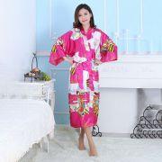 Kimono Oriental Estampa Gueixa Longo Rosa Pink