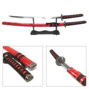 Espada Katana Daito Ryuto Vermelha c/ Ornatos Pretos / Decoração, Cosplay, Colecionismo