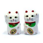 Gato da Sorte Manekineko Japonês Casal 5 cm / Amuleto da sorte, Colecionismo, Decoração oriental, Prosperidade, Felicidade, Fortuna